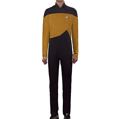 PIAOL Star Trek Rollenspiel Kostüm TNG Halloween Kostüm Ball Trikot Stretch Strumpfhose,Yellow-M