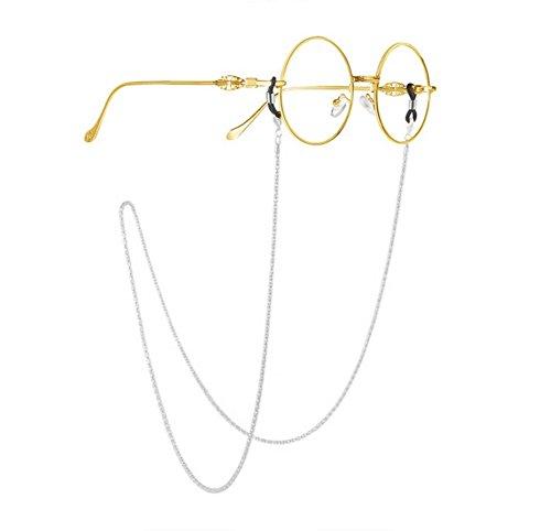 Haodou Metall Brille Kette Brillen Halskette Schnur Strap Gläser Holder Lanyard Sonnenbrille Hals Cord Strap Brillenfassung Rutschfest Kette (Silber)