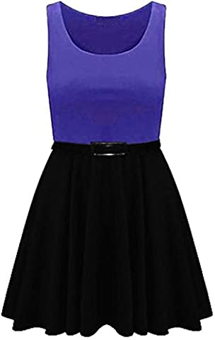 New Womens Plus Size 2 In 1 Color Block Belted