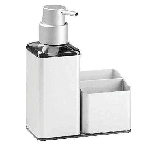 InterDesign Metro Ultra Rustproof Aluminum Soap Dispenser Pump and Sponge Caddy Organizer For Kitchen Countertops - Square, Silver