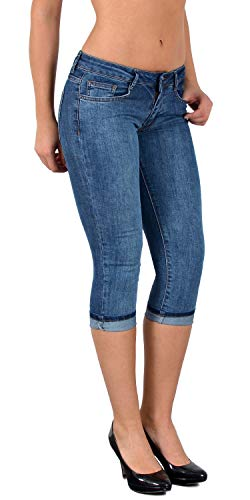 ESRA Caprihose Damen Capri Hose Damen Bermuda Shorts Kurze Jeans Hose Capri H11