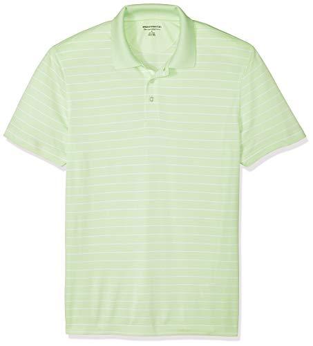 Amazon Essentials Slim-Fit Quick-Dry Stripe Golf Polo Shirt Poloshirt Herren, Lime Green, US S (EU S) -