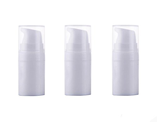3 Airless Pumpe bottles-empty Tragbar Kunststoff Mini Bajonett creme Lotion Toner Kosmetik Toilettenartikel Liquid Aufbewahrung Container Jar Töpfen (weiß) 5ml -