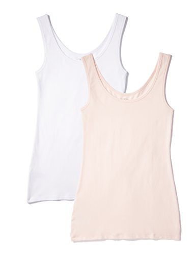 IRIS & LILLY BELK023_M2 camiseta sin mangas, Multicolor Soft Pink/White, XX-Large, Pack de 2
