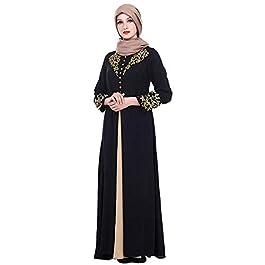 d33dd82ea036 Hzjundasi Abito Lungo Arabo Musulmano a Manica Lunga Dubai Kaftan per Donna  Abaya Vestito con Stampa ...