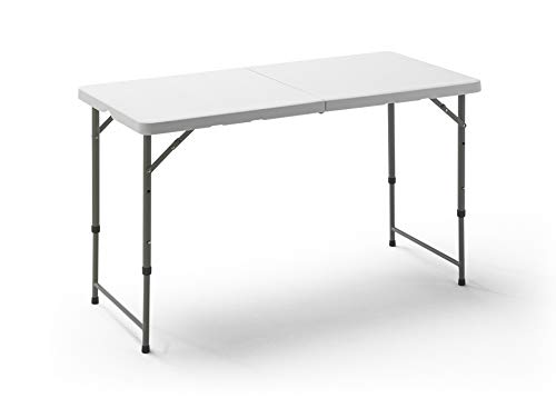 KitGarden - Mesa Plegable Multifuncional con Altura Ajustable, 120x60x52/74 cm, Blanco, Folding 122