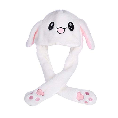 JeromKewin Funny Bunny Hut Hase Ohr Hut Kann Move Airbag Magnet Kappe Plüschtier Geschenk - Weiß, Not Light