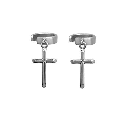 ORKST Silberne Kreuz Anhänger Ohrringe Für Frauen, 925 Sterling Silber Nicht Durchbohrt U-Form Ohr Clip Unisex Schmuck