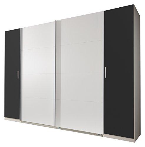 Wimex 478788 Dreh- Schwebetürenschrank, Holz, alpinweiß / drehtüren anthrazit, 270 x 65 x 210 cm