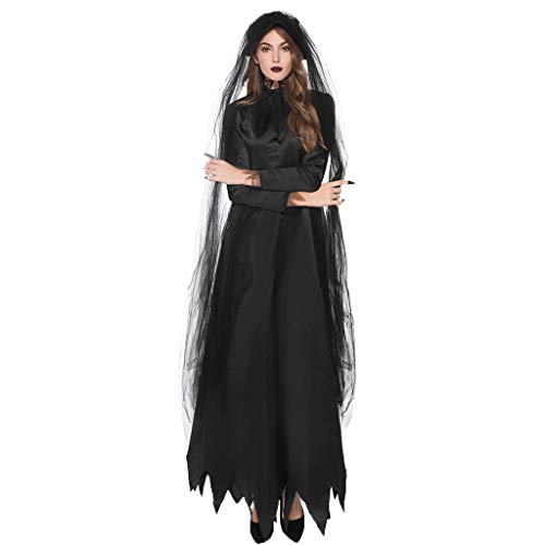 JXQ-N Damen Horror Schwarze Tüll Geisterbraut Böse Königin Lange Cosplay Kleid Dunkle Braut Kleider Halloween Kostüm Mit - Dunkle Königin Kostüm Mädchen