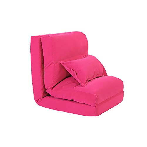 LRSFM Verstellbarer 5-Position Gaming Floor Chair Faltbarer, sehr bequemes, faules Sofa mit Komfort-Rückenlehne (Farbe : Rose rot) -