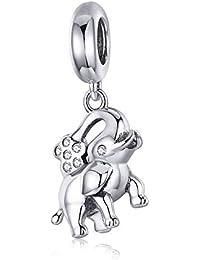 000722f2d702 Happy Elephant Animal Collection - Colgante de plata de ley 925 con diseño  de elefante