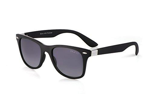 Miuno® Sonnenbrille Polarisiert Wayfarer Polarized Herren Damen Geschenkbox & Brillentuch 4195 (Silber/schwarzgetönt)