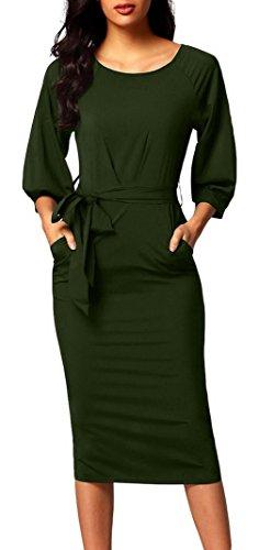 La vogue Damen Bodycon Midi Kleider mit Gürtel Elegant Langarm Lang Partykleider Armee M (Prada Für Die Taschen Frau,)