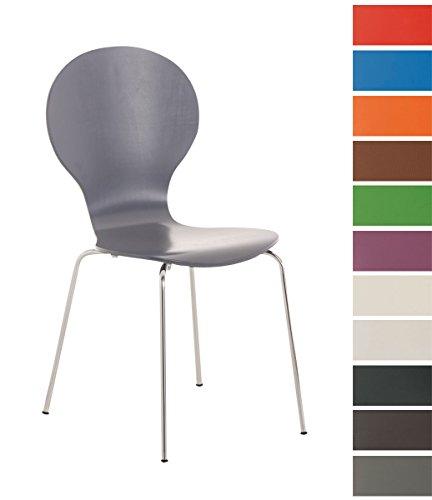 CLP Stapel-Stuhl DIEGO, Holzsitz, robust, pflegeleicht, ergonomisch geformt, 12 Farben grau