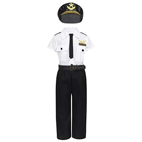 Schwarz Polizei Kostüm Weiß Und - Alvivi Polizei-Kostüm für Kinder Verkleidung für Fasching-Kostüm - Jungen Polizist/Mädchen Polizistin Kleidung Uniform Cop Officer Bekleidung Weiß&Schwarz 98-104