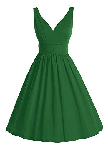 Bbonlinedress 50er Retro V-Ausschnitt Vintage Rockabilly Cocktailkleider Green