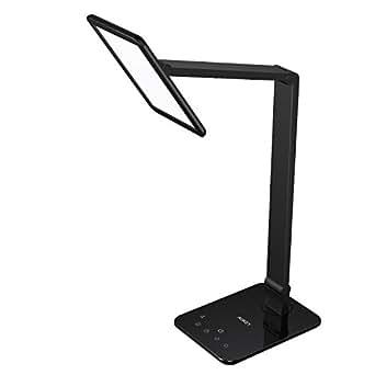 AUKEY 10W Schreibtischlampe, LED Tischlampe mit Schlafmodus, 60 LED,7,4 Zoll  Flächenlichtquelle drehbare Leselampe, Farbtemperaturen und Helligkeitsstufen Stufenlos Touch Dimmbar, USB Anschluss für Aufladung des Smartphones (LT-ST16)