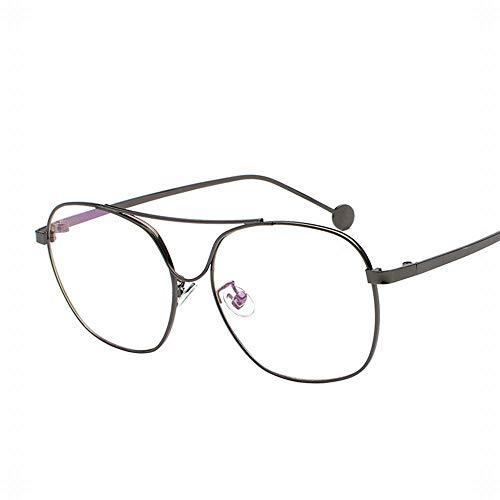 BAACHANG Brillengestell aus Metall mit dünnen flachen Gläsern Student Brillen Durchsichtige Brillen Nicht rezeptpflichtig (Farbe : Grau)