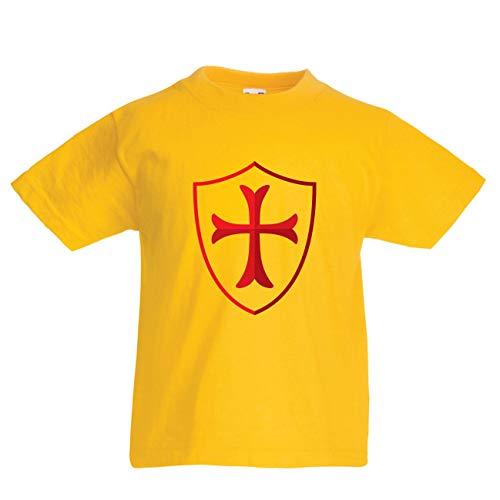 en/Mädchen T-Shirt Die Tempelritter Schild, Rotes Kreuz, Christlicher Ritterorden (7-8 Years Gelb Mehrfarben) ()