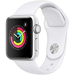 AppleWatchSeries3 (GPS) concaja de 38mm de aluminio enplata ycorrea deportiva blanca