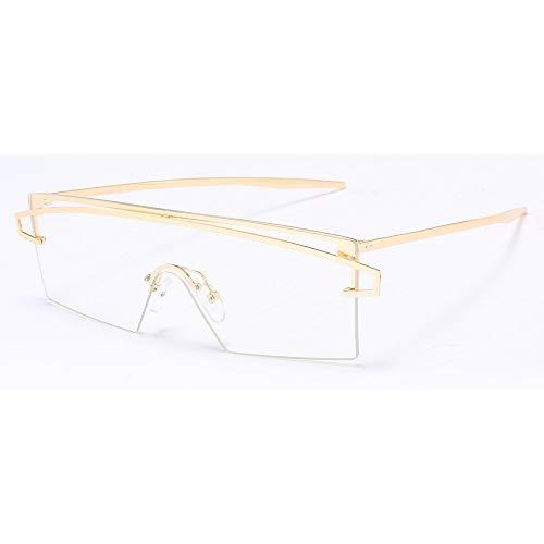 YMTP Einteilige Linse Randlose Gläser Männer Dekoration Semi Randlose Brillen Rahmen Frauen Silber Gold Metall Winddicht, Gold Mit Klar