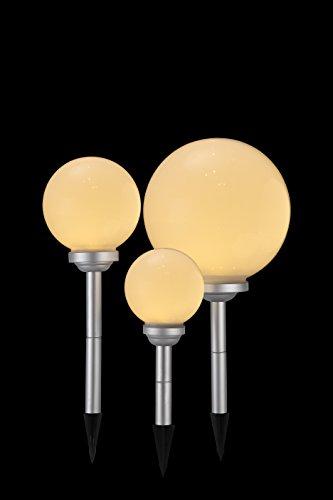 3 x LED Solarkugel Marla Solarleuchte Gartenleuchte mit Erdspieß, Durchmesser 15 + 20 + 25 cm Solarleuchte Kugelleuchte Dekolampe - 6