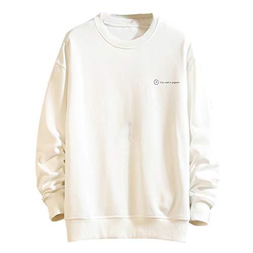Xmiral Sweatshirts Zurück Muster Drucken Langen Ärmeln Herren Pullover mit Rundhals Herren Track Top Crew Sweatshirt(Weiß,3XL)