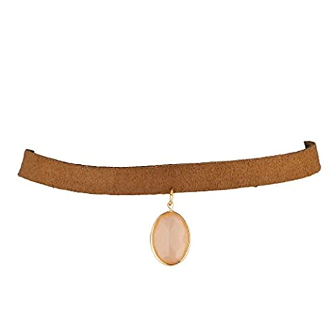 Lux Accessories Tan Thick Suede and Pink Oval Stone Choker