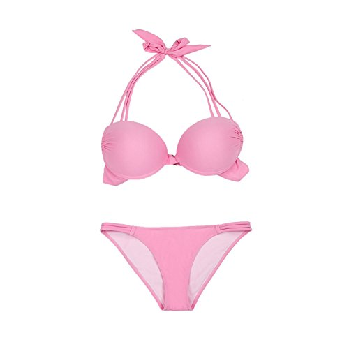 Asvert Swimwear Bikini Donne Push-up Reggiseno Imbottito Costume da Bagno Set Beach Swimwear Rosa