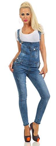 5400 Fashion4Young Damen Jeans Latzhose Latz Jeans Röhrenjeans Jeanslatzhose Stretch Slimline (blau, S-36)