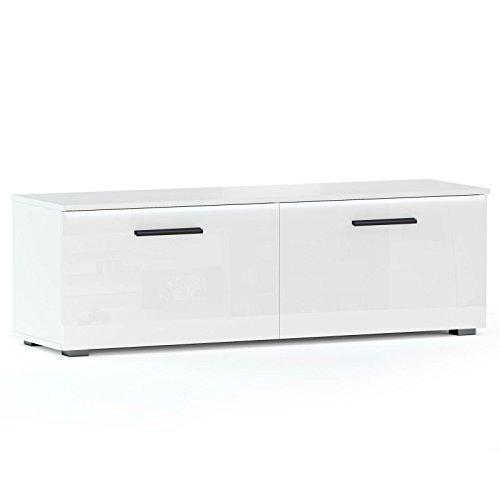 TV Lowboard Bank MALIBU in weiß hochglanz mit LED Beleuchtung, 138 cm Fernsehschrank - 3