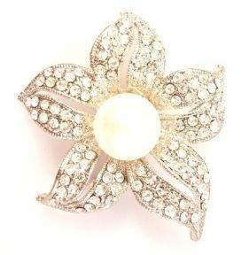 Elegante fiore di giglio cristallo chiaro perla spilla in argento - Spilla fiore