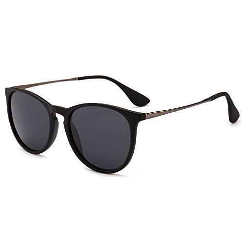 SUNGAIT Sunait Vintage Runde Sonnenbrille für Damen, klassischer Retro-Stil, (Polarized Grey Lens/Black Frame (Matte Finish)), Freie Größe