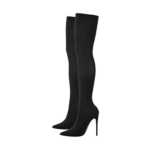 Onlymaker Damen Stiefel Overknee Spitze Zehen Stiletto Stretch Stiefel High Heels Schwarz 42 EU (High Knee Heels Heel High)