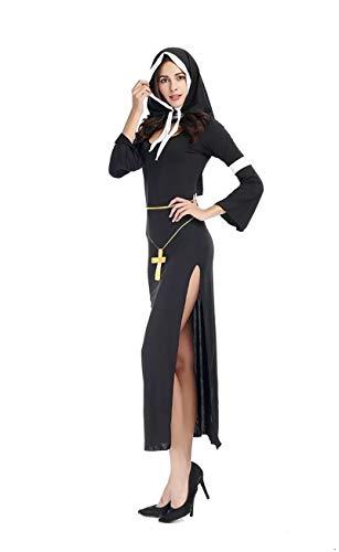 Sexy Jesus Kostüm - FHSIANN Erwachsene Frauen Sexy Halloween Nonne Schwester Kostüm Religion Christian Black Erotic Side SplitKleid Jesus Christus Outfit Für Damen