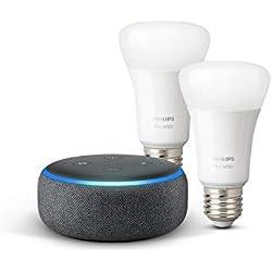Echo Dot (3ème génération), Tissu anthracite + Philips Hue White Pack de 2 ampoules LED connectées (E27), compatibles avec Bluetooth et Zigbee (aucun hub requis)