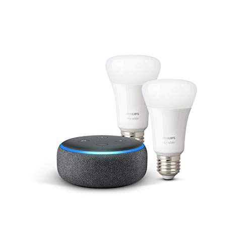 Echo Dot (3.ª generación), tela de color antracita + Philips Hue White Pack de 2 bombillas LED inteligentes, compatible con Bluetooth y Zigbee, no se requiere controlador