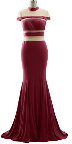 MACloth Mermaid High Neck Jersey Prom Gown Cap Sleeves Evening Formal Dress Wine Red