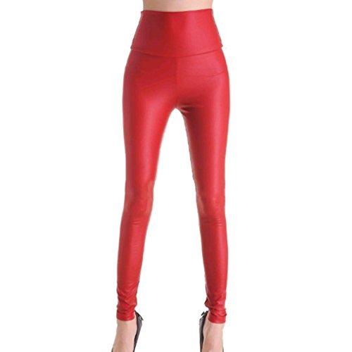 Hibote Frauen Damen Normal Hohe Taille Kunstleder Wet Look Leggings Hosen Hohe Taille Rot M