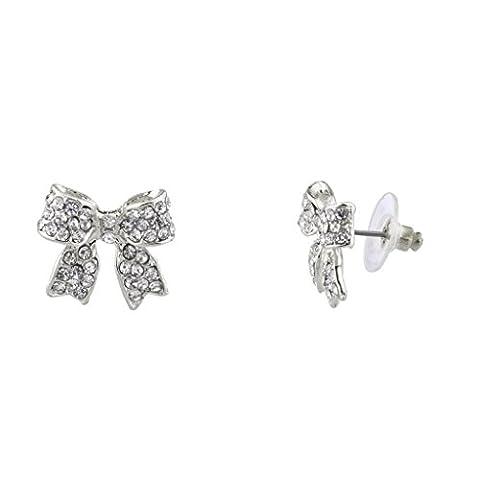 Lux Accessoires Pavé Cristal simple Delecate Bow Boucles d'oreilles clous Femme Enfant et filles.