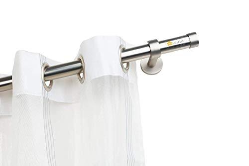 Incasa bastone per tende Ø maggiorato 28 mm senza anelli, l. 200 cm. in acciaio satinato - completo