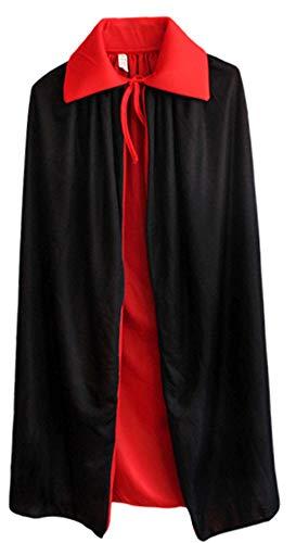 Sodhue Vampir Umhang Stehkragen Schwarze Rot Reversible Lange Samt Cape Cosplay Doppelseitig Kapuzenumhang Kostüm für Halloween und Karneval - Reversible Samt Kostüm