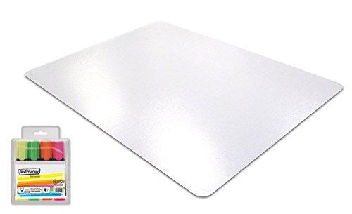 Transparente Schreibtischunterlage mit Antirutschbeschichtung - extrem stabil und hitzebeständig - Schreibunterlage 61 x 48 cm aus Polycarbonat + GRATIS 4 Textmarker
