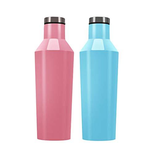 Edelstahl Wasserflasche AXZXC Umweltfreundlich Sport Edelstahl Turnhalle Wasserflasche 750ml-500ml Tragbare Wiederverwendbare Blau Rosa (Color : Blue pink, Size : 500ml 750ml) -
