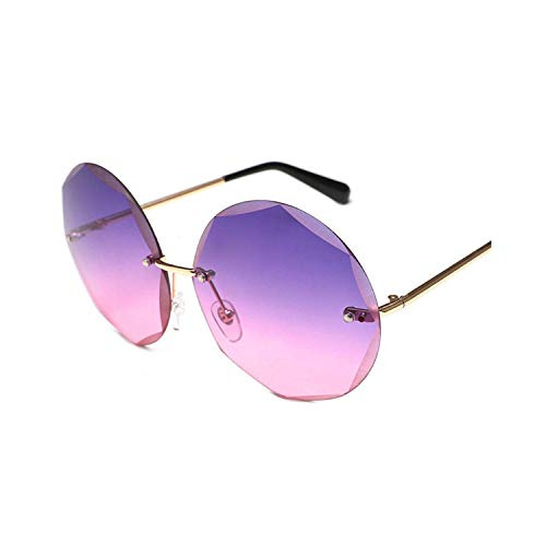 Sport-Sonnenbrillen, Vintage Sonnenbrillen, Round Cut Rimless Sunglasses Women Men Vintage Fashion Gradient Sun Glasses NEW Stylish Female Male Eyeglasses Gifts 03