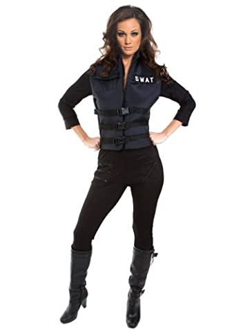 Underwraps Carnival 199778 Lady SWAT Adult Costume - Black - (Swat Team Abbigliamento)
