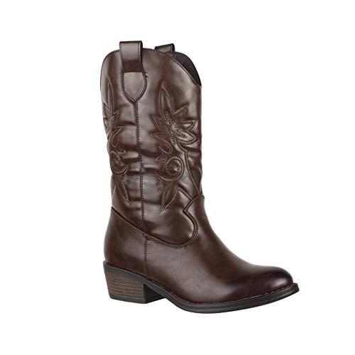 Elara Damen Cowboy Stiefel | Bequeme Lederoptik Stiefeletten | Blockabsatz Zipper | Gefüttert | chunkyrayan 7630-PG Brown-36