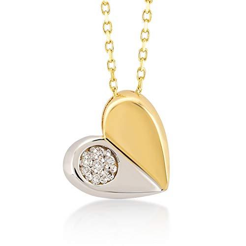 Damen Herzkette aus 14 Karat - 585 Echt Gelbgold Kette mit Herz-Anhänger und 0.02ct Diamant, Geschenk für Geburtstag Valentingstag - Kette 45 cm
