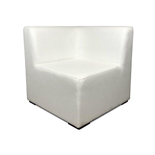 SuenosZzz-Sofa Exterior Modular Benahavis rinconera Color Blanco tapizado en Polipiel Silva. Chill out Jardin o recepcion.